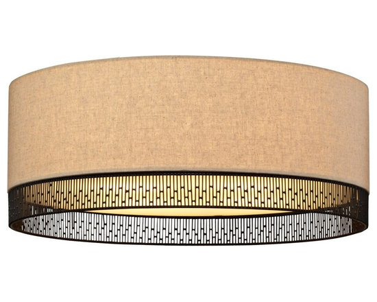 """LBL Lighting - LBL Hollywood Beach 16"""" Wide Ceiling Light - Add some glamour and style to any room with this flushmount ceiling light from LBL Lighting. Fabric drum shade features hand-worked bronze wire detailing at bottom. Opal glass diffuser provides a soft even light. Bronze finish flushmount ceiling light. Hand-crafted wire detail at bottom. Opal glass diffuser. Includes two 75 watt A19 bulbs. 16"""" wide. 5 3/4"""" high.  Bronze finish flushmount ceiling light from the Hollywood Beach Collection.  Hand-crafted wire detail at bottom.  Opal glass diffuser.  Includes two 75 watt A19 bulbs.  16"""" wide.  5 3/4"""" high."""