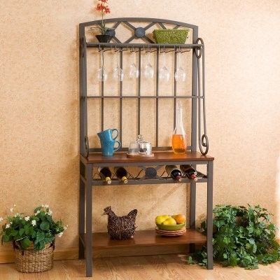Southern Enterprises Decorative Bakers Rack with Wine Storage modern-storage-cabinets