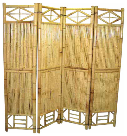 Bamboo screen 4 panel self standing screens 72 w x 72 h for Garden dividers screens