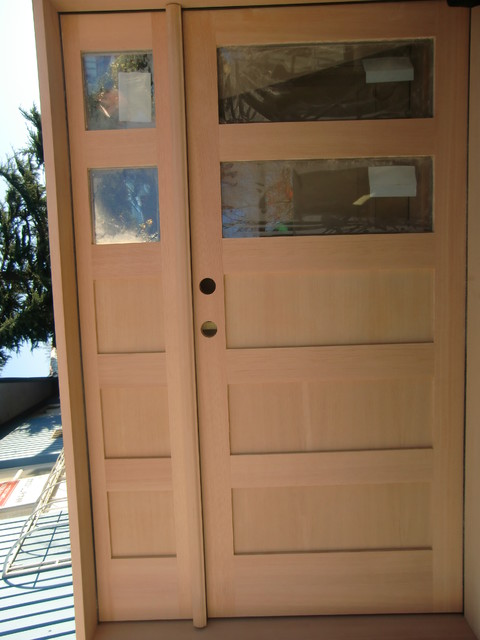 VG Fir 2 Lite Shaker 3 Panel Shaker Bottom modern front doors