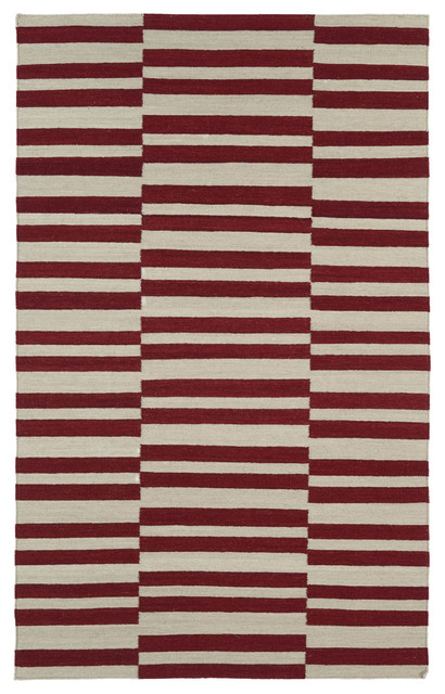 Flatweave Red Stripes Wool Rug (2' x 3') contemporary-originals-and-limited-editions
