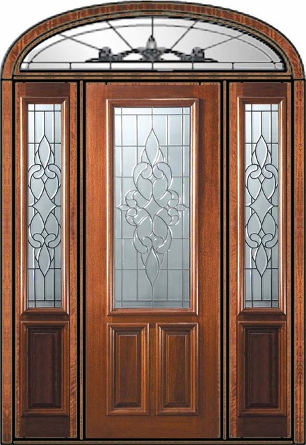 Prehung side lights transom door 96 wood mahogany for Side doors for houses