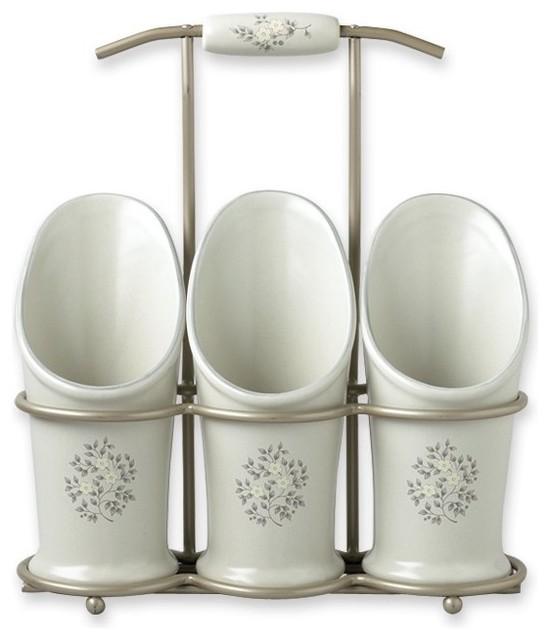 Heirloom flatware caddy traditional utensil holders and racks by pfaltzgraff - Unique kitchen utensil holder ...