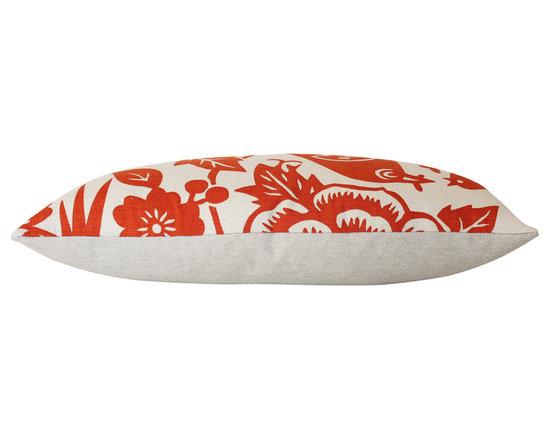 The Pillow Studio - Mama Bird Lumbar Pillow Cover In Tangerine Orange - Mama Bird Lumbar Pillow Cover In Tangerine Orange
