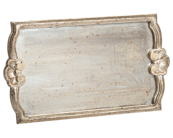 Abigails - Vendome Silver Leaf Tray with Antiqued Mirror, Medium - A delightful way to show off beautiful glassware. This tray also doubles as a nice holder for bathroom lotions and perfumes.