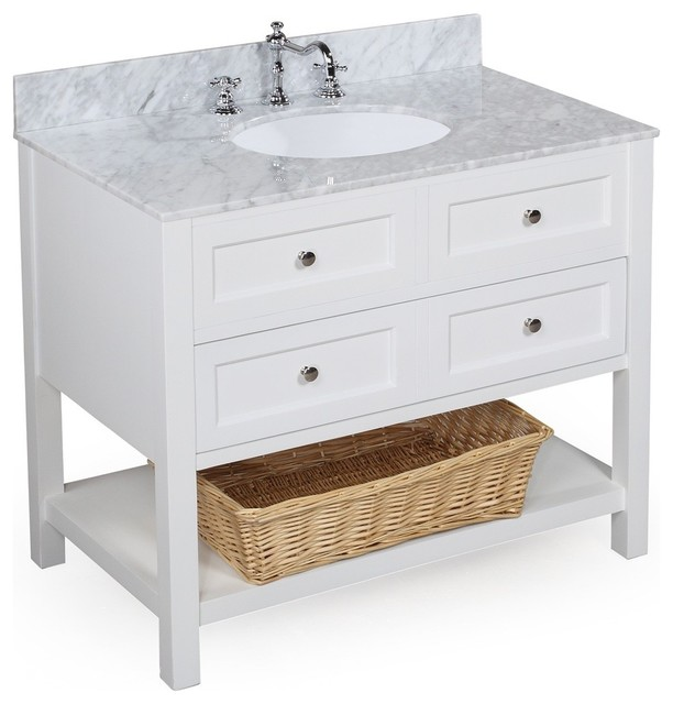 new yorker 36 quot bath vanity carrara and white