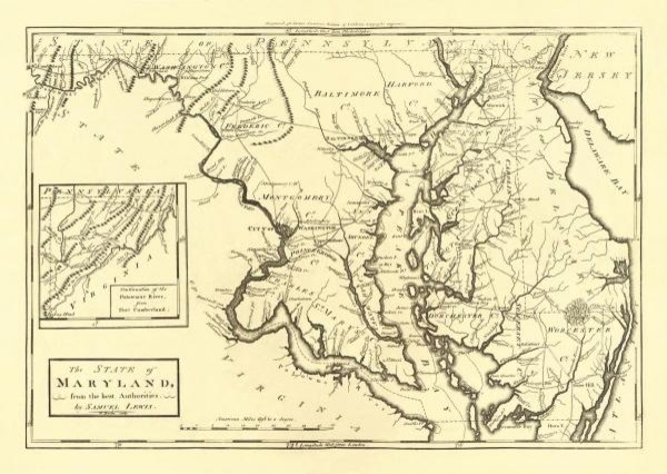 State of Maryland, 1795 21.27 x 30 Art Print On Canvas prints-and-posters