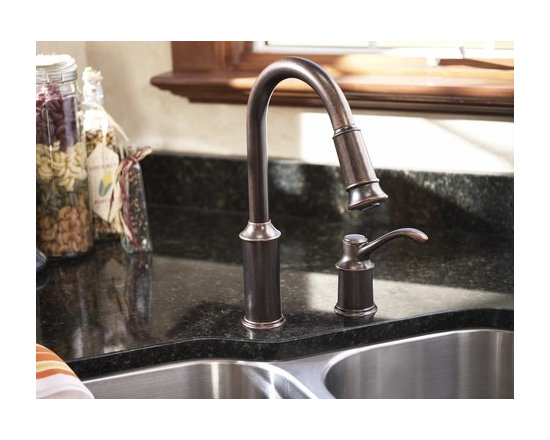 MOEN Aberdeen Oil rubbed bronze one-handle high arc pulldown kitchen faucet - Product Features