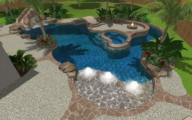 Cypress Custom Pools --- Design Freeform traditional-rendering