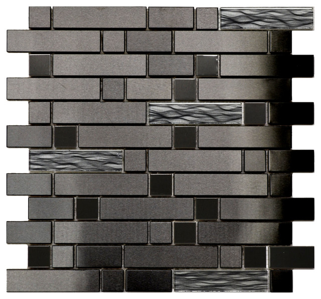 black stainless with black wave glass mosaic tile sheet