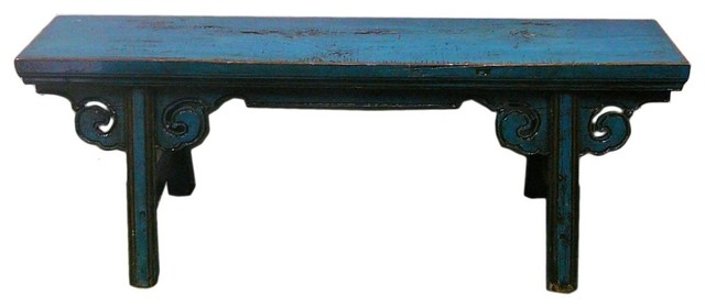 Chinese Oriental Blue Lacquer Long Wood Bench asian-indoor-benches