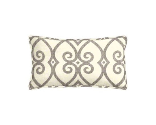 """Cushion Source - Gates Dove Gray Scroll Lumbar Pillow - The 20"""" x 12"""" Gates Dove Gray Scroll Lumbar Pillow features a beautiful scrollwork pattern in gray on a natural background"""