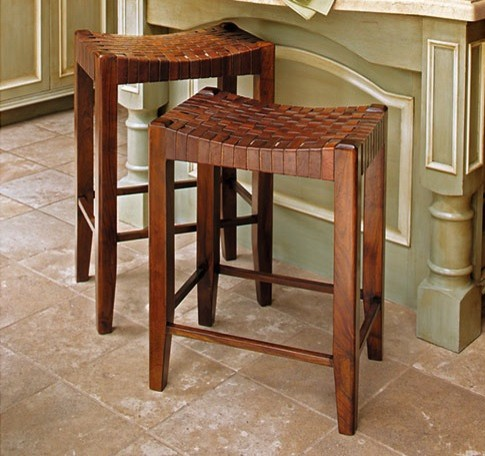 Woven Leather Stools traditional-bar-stools-and-counter-stools