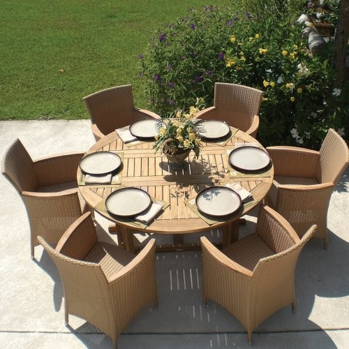 royal teak round drop leaf patio dining table contemporary outdoor dining tables by hayneedle. Black Bedroom Furniture Sets. Home Design Ideas