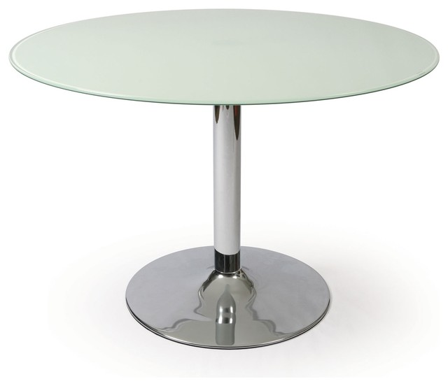 Pastel sundance round frosted glass dining table in chrome for Round glass and chrome dining table
