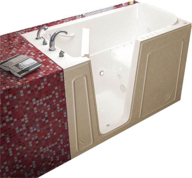 Meditub 32x60 Left Drain Biscuit Whirlpool and Air Jetted Walk-In Bathtub traditional-bathtubs
