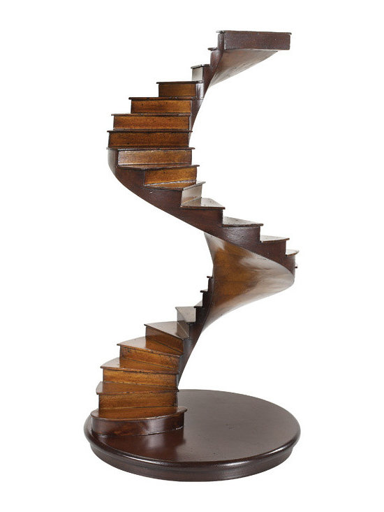 """Inviting Home - Spiral Staircase - hand-made decorative model of Spiral Staircase 8"""" x 14-5/8""""H Spiral staircase is crafted in the manner of models made by members of a French Guild. Prevalent from the Middle Ages it reached its zenith during the 17th through the 19th centuries. In the compagnonnage apprentices first developed technical skills and studied geometrical drawing and design. They then were sent on a �Tour de France� working with masters throughout the country. Ultimately each produced a """"guild masterpiece"""" or ma�trise demonstrating mastery of joinery cabinetmaking carpentry and design concepts and techniques."""