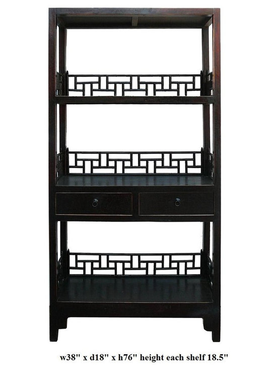 Simple Rustic Black Brown Lacquer Display Bookshelf - This is a simple oriental accent bookshelf or display cabinet with three sections. The apron / back panel is in Asian style. The color is a rustic rough finish.