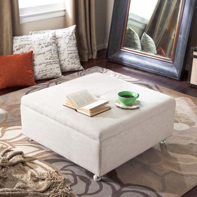 Corbett Linen Coffee Table Storage Ottoman Multicolor - LC50260TSQLINA contemporary-footstools-and-ottomans