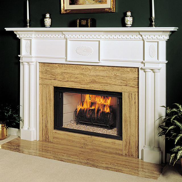 Renaissance Wood Fireplace Mantel Traditional Indoor Fireplaces
