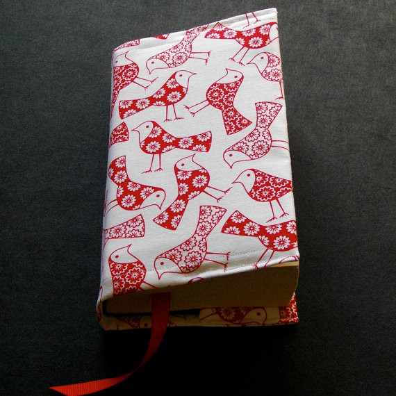Prettified Paperbacks Fabric Book Covers-Retro Red Birds Print, Bright Blue Lini books