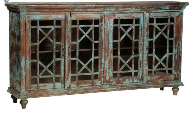 Vintage Distressed Blue Sideboard with Glass Paneled Doors eclectic buffets and sideboards
