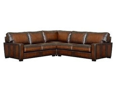Turner Leather Upholstered 3-Piece L-Shaped Corner Sectional, Polyester Wrap Cus traditional-sectional-sofas