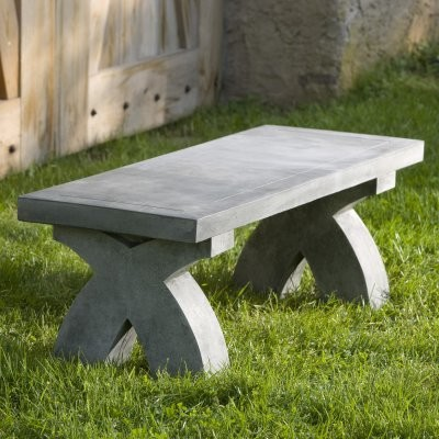 Campania International The X Cast Stone Backless Garden Bench