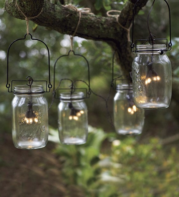 Glass String Lights Outdoor : Glass Mason Jar Solar String Lights - Eclectic - Outdoor Rope And String Lights - by Plow & Hearth
