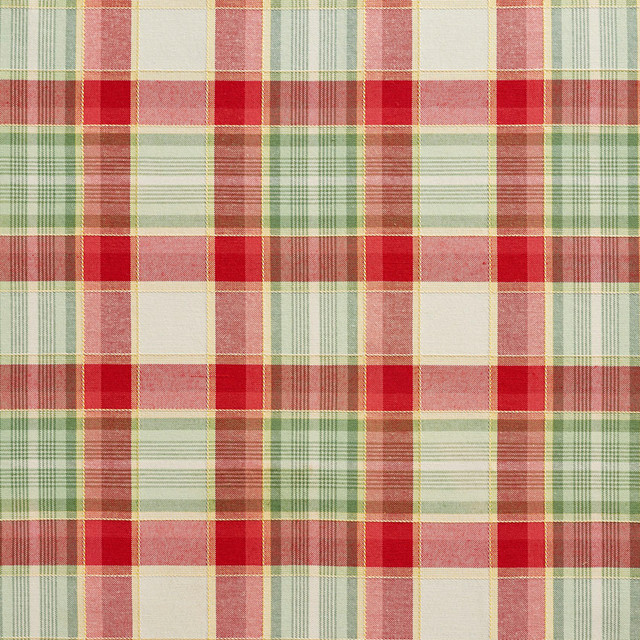 Green and Red Country Plaid Upholstery Fabric By The Yard