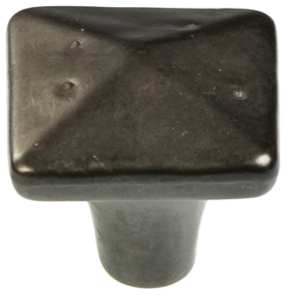 Square carbonite black iron cabinet knob rustic knobs for Square kitchen cabinet knobs