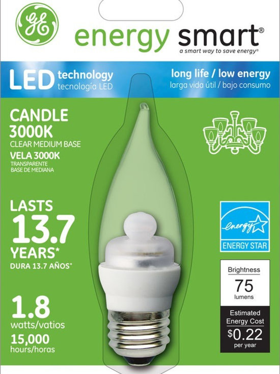 GE Energy Smart 10W Replacement (1.8W) Candle CA11 LED Bulb (Warm, Clear, E26) - GE Energy Smart 10W Replacement (1.8W) Candle CA11 LED Bulb (Warm, Clear, E26) | http://www.agreensupply.com/ge-energy-smart-10w-replacement-1-8w-candle-ca11-led-bulb-warm-clear-e26/