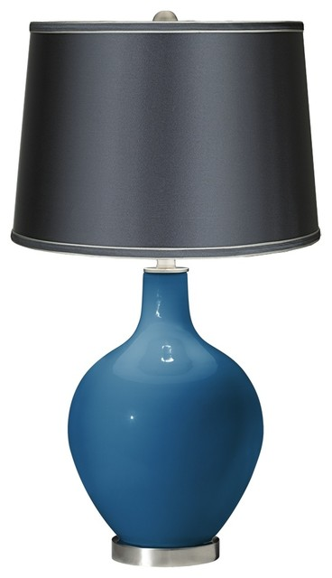 Mykonos Blue Satin Dark Gray Shade Ovo Table Lamp