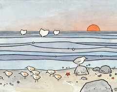 Sandpipers Beach Illustration Print eclectic artwork