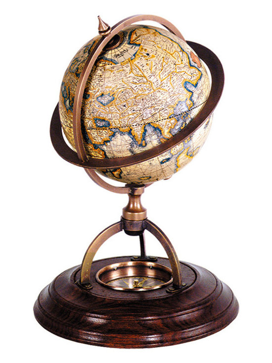 """Inviting Home - Terrestrial Globe with Compass - terrestrial globe with compass 5-3/4"""" x 8-1/8""""H Classic globes without a matching compass were considered incomplete. Our wonderfully constructed bronze and wood stand with paper globe includes true reproduction of 17th C. �dry� compass. Twelve paper gores applied to the globe are printed after originals drawn by Gerardus Mercator the inventor of the Mercator projection which was used from the 16th C. until the middle of the 20th C. Scientific decorative historical"""