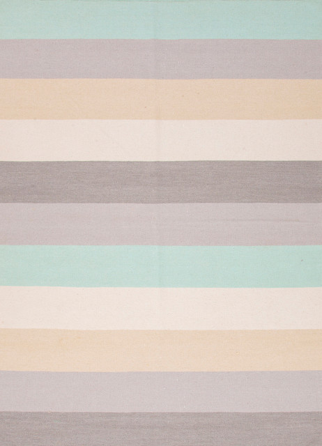 Flat-Weave Stripe Pattern Wool Gray/Blue Area Rug (9 x 12) contemporary-rugs