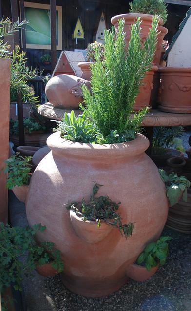 Edible Container Gardening mediterranean-outdoor-pots-and-planters