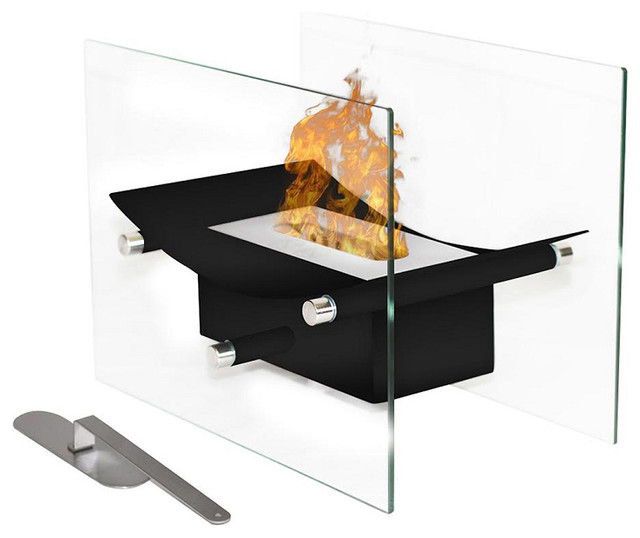 Moda Flame Cavo Table Top Ventless Bio Ethanol Fireplace in Black contemporary-indoor-fireplaces