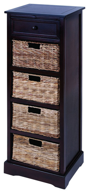 Tall Cabinet With 4 Wicker Baskets - Traditional - Storage ...