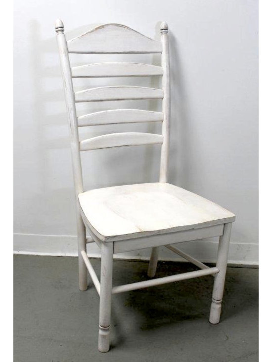 White farmhouse ladder back chair - Made by http://www.ecustomfinishes.com
