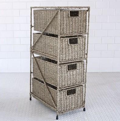 Sasha Seagrass 4-Drawer Tower eclectic-closet-storage
