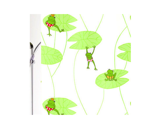 Frog Kid's Fabric Shower Curtain from Vita Futura - Our Frog luxury shower curtain is great for kids or adults. Sweet, princely lime green frogs are hanging out and having fun on large light green lilly pads all over a white background. All of the fabric shower curtains we offer feature heavy-duty palstic grommets / eyelets and have a weighted hem to assist in keeping the shower curtain in place while in use. Much like the shower curtains you find in many luxury hotels and spas, this shower curtain does not require the use of a shower curtain liner. Made of quick-dry and easy-care fabric. As with all of our products, our Frog shower curtain is designed and produced in Germany.