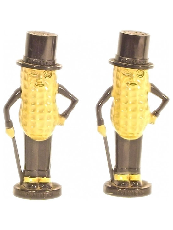 "Mr. Peanut Salt & Pepper Shakers - Vintage set of Mr. Peanut salt and pepper shaker figurines. Each marked ""Mr. Peanut"" on hat. Holes at top are in shape of ""S"" and ""P."""
