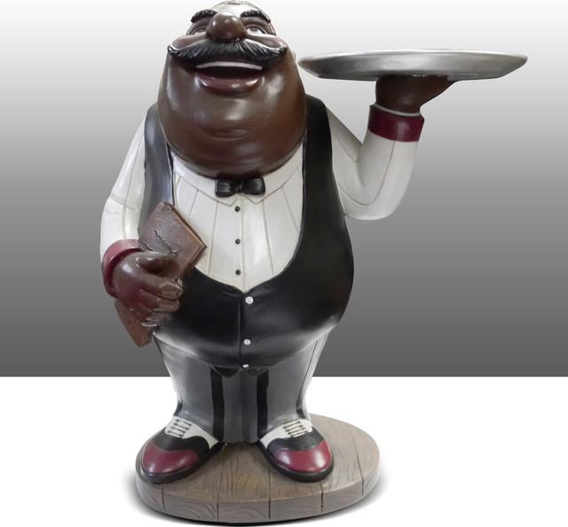 Black chef kitchen statue holding plate table art decor