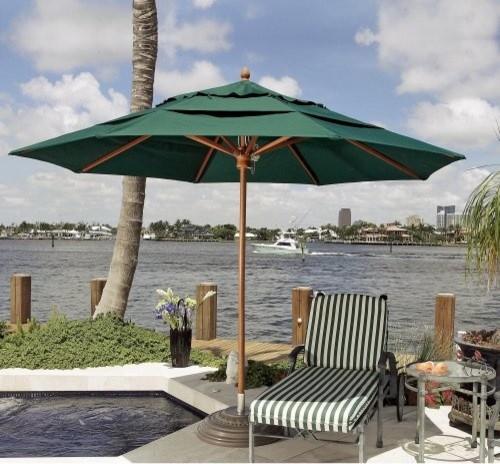 FiberBuilt 9 ft. Commercial Grade  Wood Market Umbrella Heather Beige traditional-outdoor-umbrellas