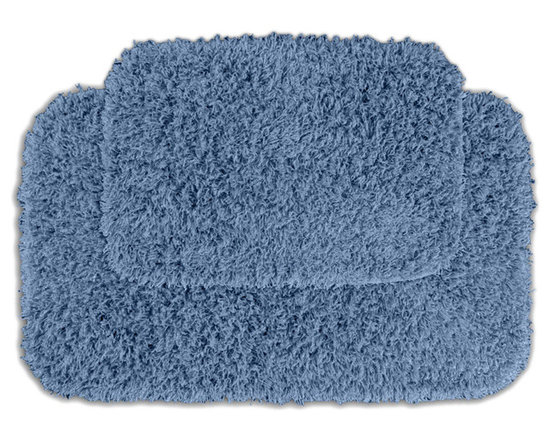Sands Rug - Quincy Super Shaggy Cool Blue Washable Runner Bath Rug (Set of 2) - Jazz up your bathroom, shower room, or spa with a bright note of color while adding comfort you can sink your toes into with the Quincy Super Shaggy bathroom collection. Each piece, whether a bath runner, bath mat or contoured rug, is created from soft, durable, machine-washable nylon. Floor rugs are backed with skid-resistant latex for safety.