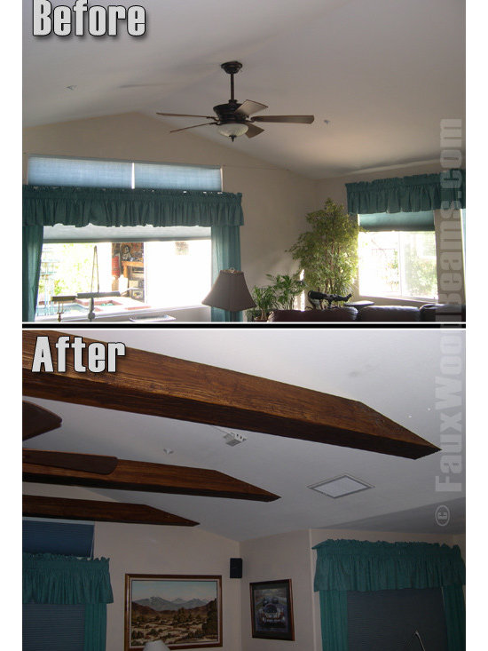 Sandblasted Faux Beams - The shallow angle of this roof posed a but of a design challenge but the ease of installation and light weight of faux sandblasted beams made them perfect for the job.