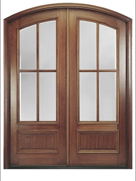 MAI - Entry Door Model MARFL-4-2 - This 4- Lite door is one of our Top Sellers at Doors4Home.  It is a Mahogany double door system with an arched radius.  Glass is available in Clear or Flemished Glass