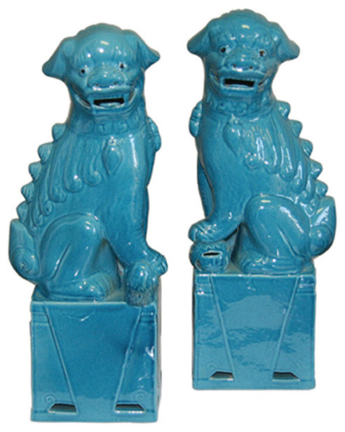 Turquoise Foo Dogs, Large asian accessories and decor
