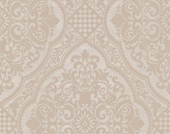Century Classic - Lacey Damask Wallpaper, Beige, Offwhite traditional-wallpaper